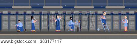 Data Server Computer Room Horizontal Background With Working Staff, Flat Vector Illustration. Databa