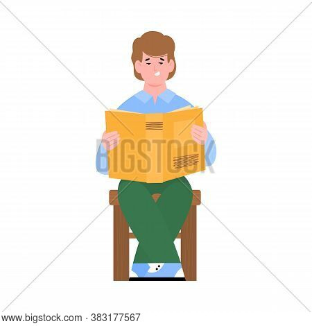 Teenager Boy Or Young Guy Sitting And Reading A Book, Flat Cartoon Vector Illustration Isolated On W