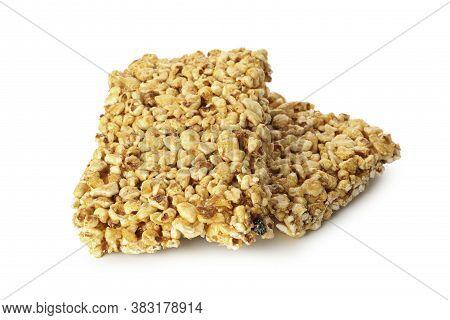 Tasty Peanut Brittles Isolated On White Background