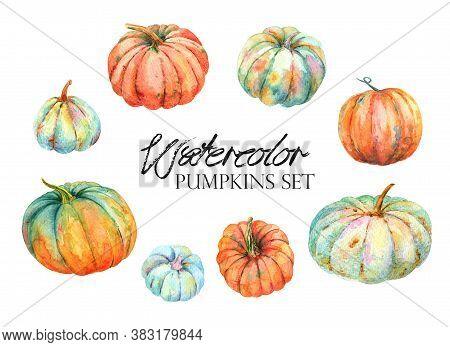 Autumn Watercolor Pumpkin Vintage Farm Clipart. Fall Harvest Of Turquoise Orange Pumpkin Squash,