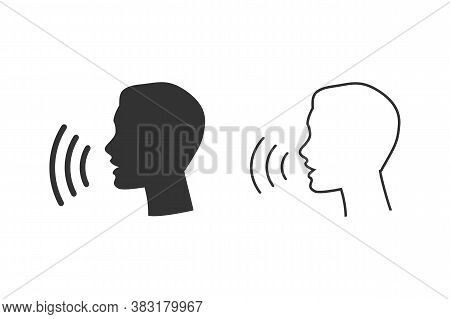 Voice Control Line Icon Set. Speak Talk Recognition Linear Icon, Speaking And Talking Command