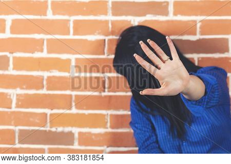 Girl Show Hand Up, Symbol Of Stop. Invisible Face, A Young Girl With Hand Out