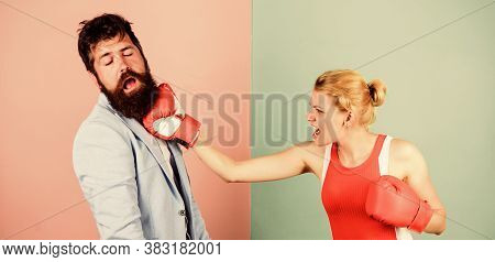 Gender Equal Rights. Couple In Love Competing In Boxing. Conflict Concept. Gender Battle. Family Qua