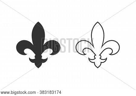 Fleur De Lis Heraldic Line Icon Set. Vector