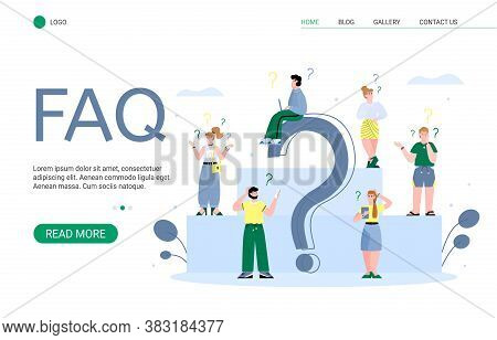 Faq Landing Page For Website With People Concerning And Doubting. People Looking For Answers For Que