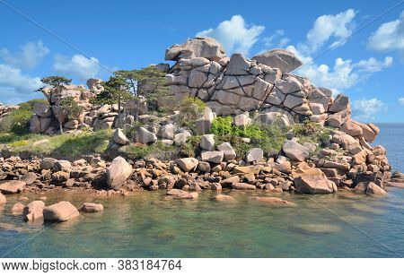 Coastal Landscape At Cote De Granit Rose,north Sea,brittany,france