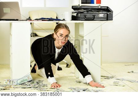 Gather Money Heap. Sexy Woman With Case At Workstation. Happiness And Success. Businesswoman Holding