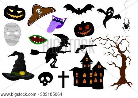 Set Of Halloween Party Design Elements And Icons On White Background. Photo Booth Props