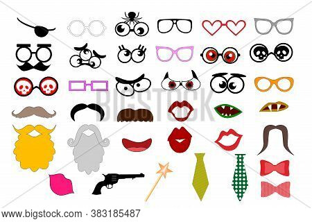 Photo Booth Props Template For Party. Elements For Party Props. Mustaches, Lips, Eyeglasses, Beard,
