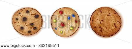 Chocolate, Candy And Fudge Sugar Chip. Cookies Set