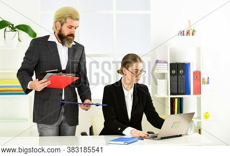 Subordination And Teamwork. Business Report. Successful Business. Man And Woman Boss Manager Directo