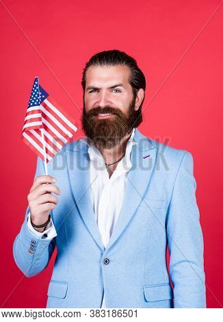 Businessman With American Flag. Fourth Of July. Independence Day Of America. Education Of Patriotism