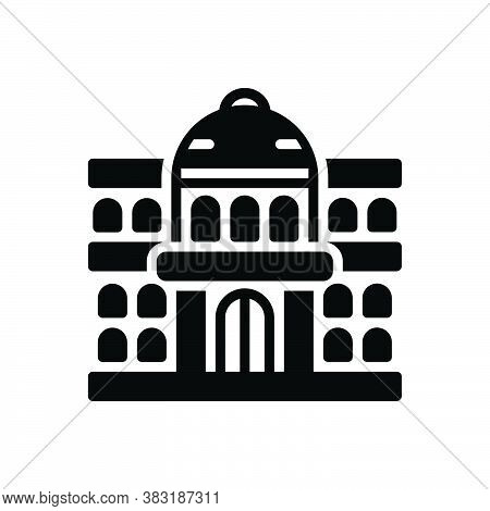 Black Solid Icon For University Governmental Architecture Institute College Students Education Learn
