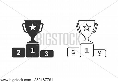 First Prize Gold Trophy Line Icon Set, Trophy, Winner, First Prize, Runner-up Prize, Vector Illustra