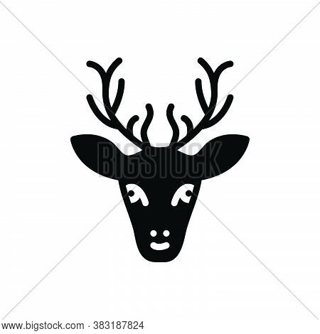 Black Solid Icon For Dear Rain Face Animal Antler Forest Cute Horn Hunting
