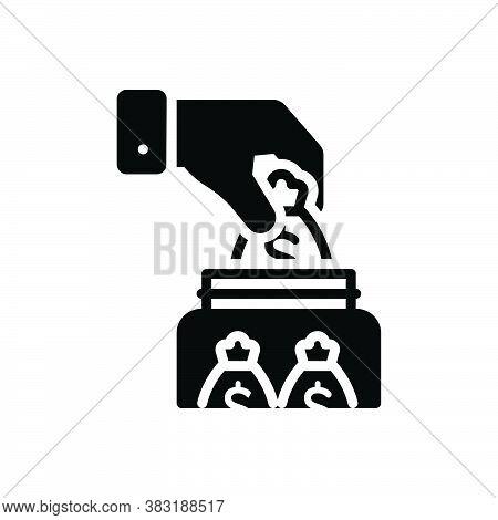 Black Solid Icon For Save Money Deposit Investment Venture Contribution Transaction Management Comme