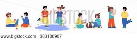 Set Of Children Demonstrating Good And Bad Behavior. Obedient And Mischievous Kids Play Calm And Cau