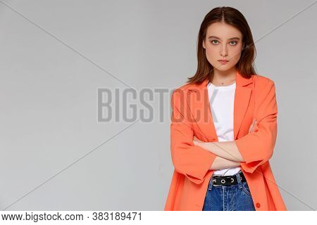 Attractive Confident Creative Good-looking Female Bossy Employee Cross Arms Chest Self-assured Pose