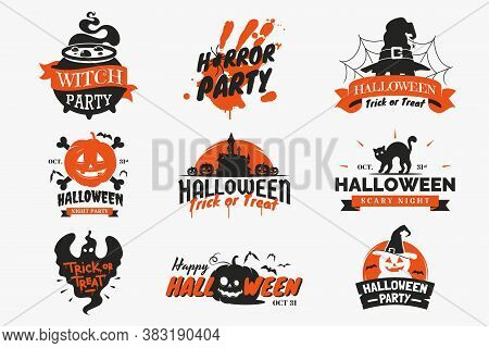 Set Of Halloween Badges And Labels Isolated On White Background. Vintage Halloween Signs With Letter