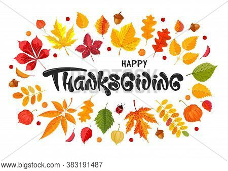 Happy Thanksgiving Festive Typography Lettering With Autumn Leaves, Acorns And Physalis. Celebration