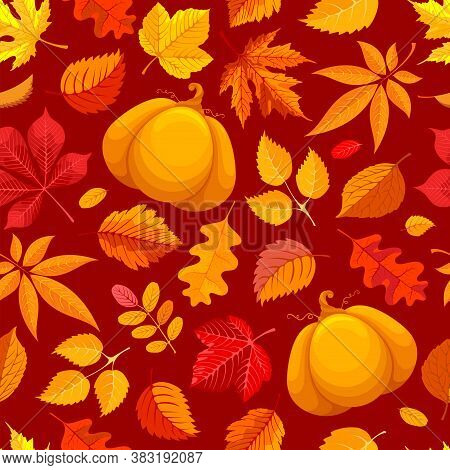 Seamless Pattern In Red And Orange Tones With Autumn Leaves And Pumpkin. Fall Background With Maple