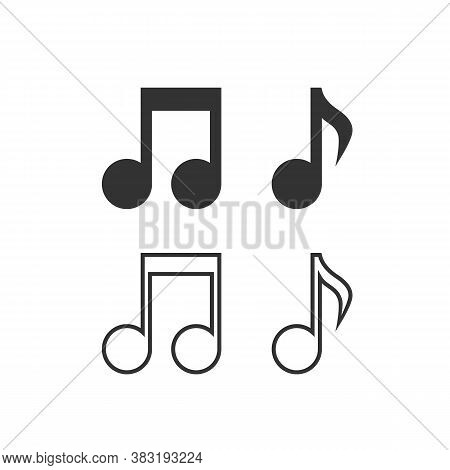 Music Note Vector Line Icon Set. Sound And Melody Symbols