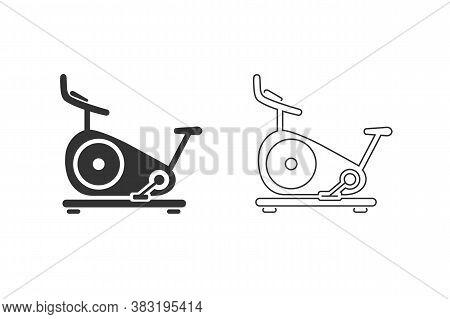 Stationary Bike Web Black Icon Set. Vector Illustration