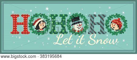 Hand Drawn Christmas Holiday Vector Decoration. Cute Kids Snowman Enjoy Winter Snow Cartoon. Fun Tex