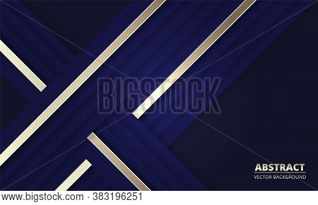 Dark Blue Abstract Background With Blue And Gold Lines. Modern Deep Blue Banner With Luminous Lines.