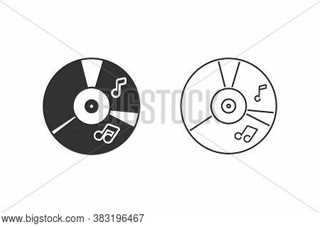 Cd Music Line Icon Set In Flat Style. Vector Illustration