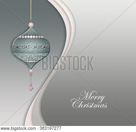 Luxury Hanging Christmas Bauble Decorated With Jewelry Pink Pearls On Pastel Green Grey Background.
