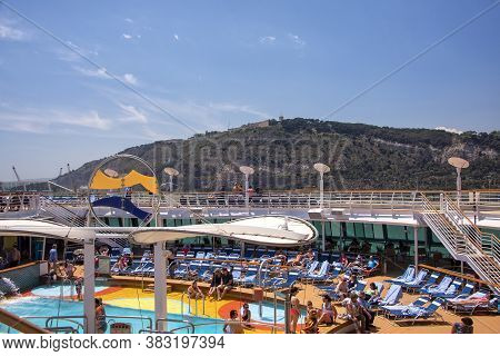 Barcelona, Spain - June 7, 2016:  The Lido And Pool Deck Aboard The Brilliance Of The Seas Cruise Sh