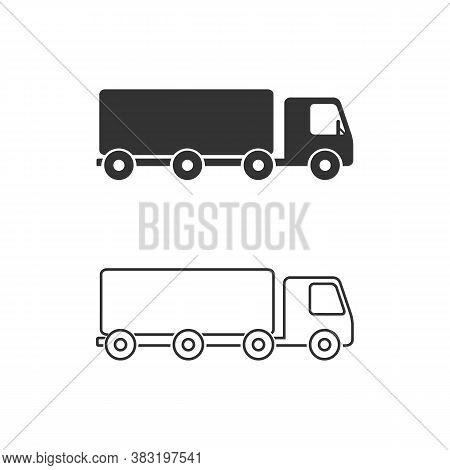 Truck Trailer Vector Line Icon Set. Semi Lorry Wagon Commercial Transport Logistic Concept. Van Deli