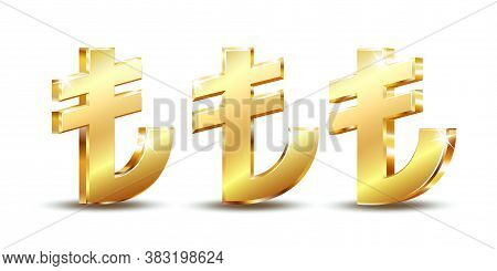 Shiny Golden Turkish Lira Sign. Tl Currency Symbol. Turkish Money.