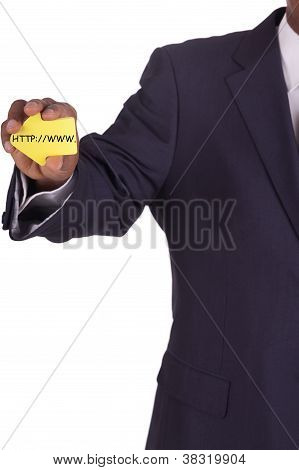 Businessman With A Notiz In Hand