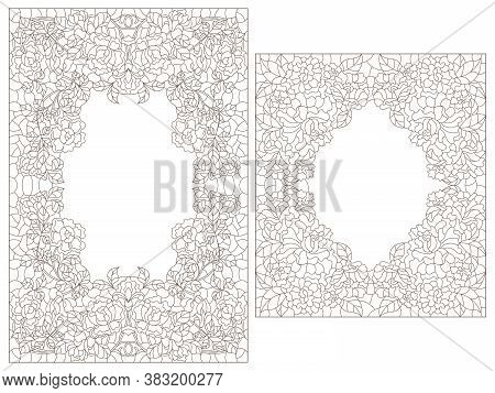 Set Of Contour Illustrations Of Stained Glass Windows With Flowers Of Roses, Dark Outlines On A Whit