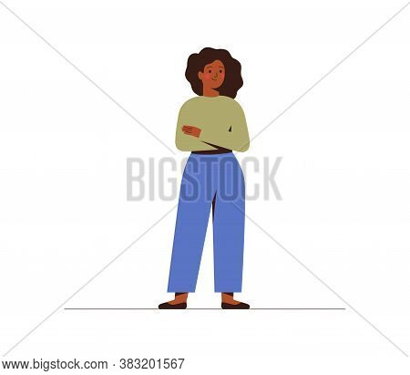 Successful Young Dark Skin Businesswoman Crossed Hands. Confident Black Girl In Casual Clothes Full-