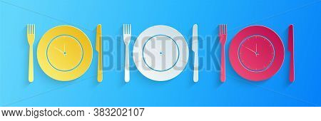 Paper Cut Plate With Clock, Fork And Knife Icon Isolated On Blue Background. Lunch Time. Eating, Nut