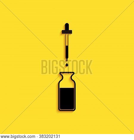 Black Glass Bottle With A Pipette. Vial With A Pipette Inside And Lid Icon Isolated On Yellow Backgr