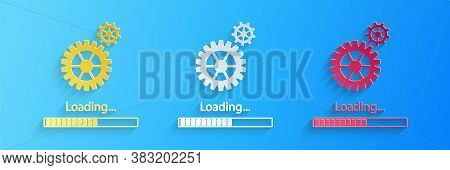 Paper Cut Loading And Gear Icon Isolated On Blue Background. Progress Bar Icon. System Software Upda