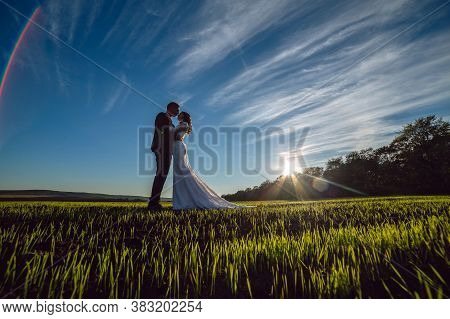 Beautiful Young Couple, Bride And Groom Walking On A Sunny Day Outdoors. Man And Woman In A Wedding
