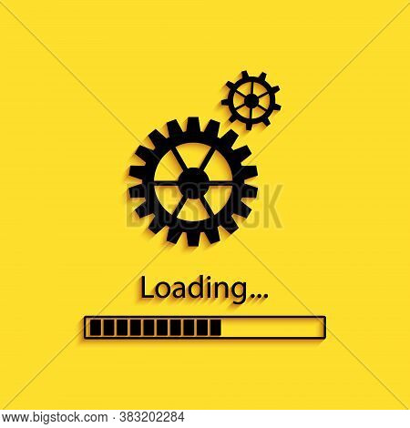 Black Loading And Gear Icon Isolated On Yellow Background. Progress Bar Icon. System Software Update