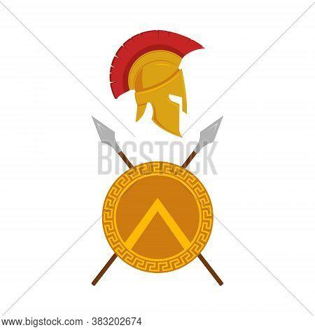 Spartan Shield, Helmet And Spears Logo Design. Vector.