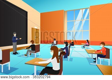 A Vector Illustration Of College Students Wearing Masks During Lecture
