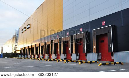 Empty Loading Bay Of A Large Warehouse. Logistics Center.
