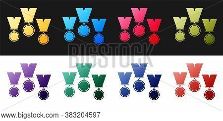 Set Medal Set Icon Isolated On Black And White Background. Winner Simbol. Vector