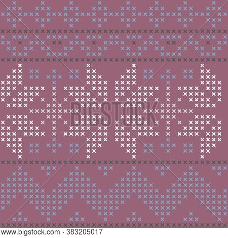 Vector Pink Cross Stitch Winter Seamless Pattern Print Background.