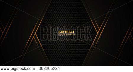 Dark Orange Honeycomb Textured Grid. Dark Hexagonal Carbon Fiber Background With Orange Luminous Lin