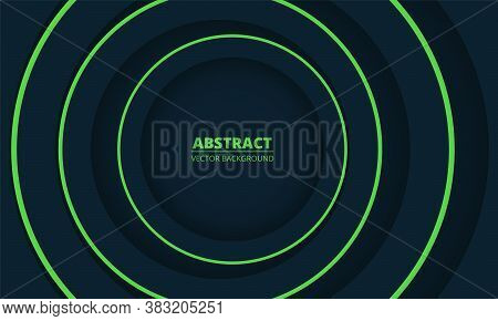 Dark Colorful Geometric Abstract Background. Blue And Green Circles Paper Cut Decoration Diverge Fro