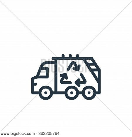 garbage truck icon isolated on white background from ecology line collection. garbage truck icon tre